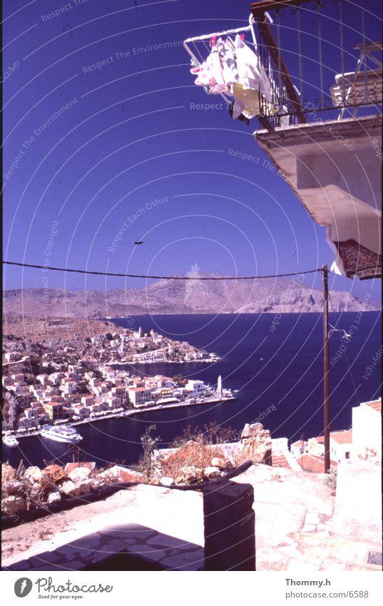 Insel Simi - Griechenland Meer Balkon Dorf Europa Bucht Himmel