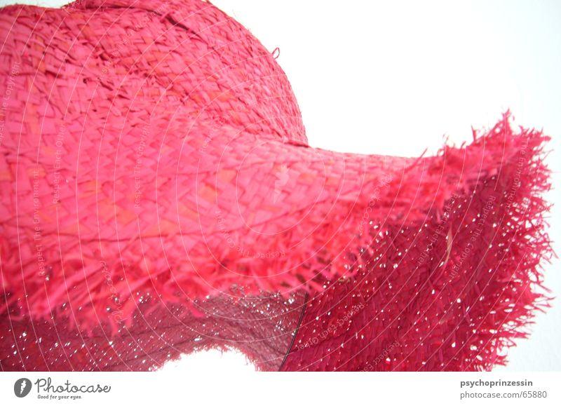 Dame mit Hut weiß Sonne Sommer Strand rosa Spiegel Hut frech Stroh Strohhut