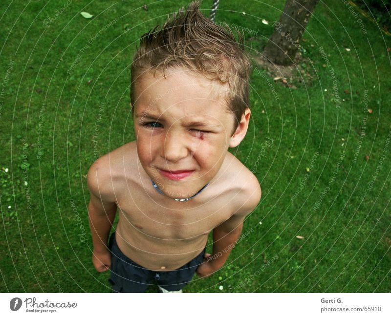 MACH DAS NICHT NOCH MAL  %$#°°%& !! Wiese grün Haare & Frisuren Schulter Kind Faust Wut Baumstamm schlagen Junge Mensch Blick Körper fäuste ballen Auge