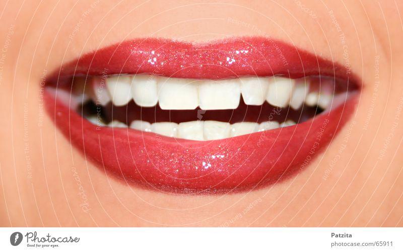 weisses Lächeln Glück lachen lustig Mund Zähne Lippen