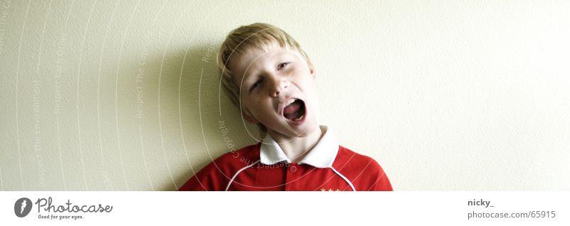 """katzen""jammer Wand schreien rot Trikot T-Shirt Porträt Kind böse Enttäuschung lustig Junge boy Gesicht Kopf verrückt Mund Nase Auge Haare & Frisuren"