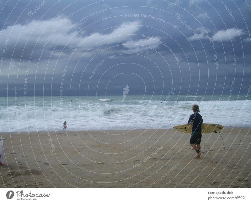 Surfen in Biarritz Wasser Meer Strand Wolken Sport Sand Brandung Extremsport