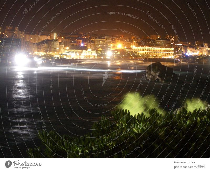 Biarritz bei Nacht Meer Stadt Europa Frankreich Nacht Biarritz