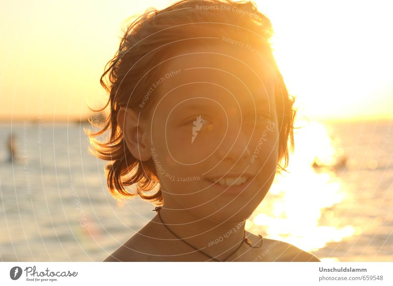 Golden days of summer Ferien & Urlaub & Reisen Sommer Sommerurlaub Sonne Strand Meer Junge Jugendliche Leben Kopf Gesicht 1 Mensch 8-13 Jahre Kind Kindheit