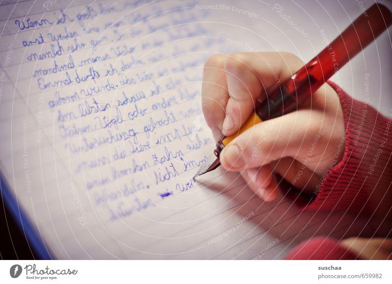 Aufsatz II Kind Kindheit Schule Schulunterricht Hausaufgabe Schüler Diktat schreiben Leistung Musiknoten Schriftstück Schreibschrift Leistungsdruck Bildung