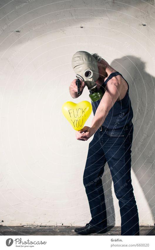 STUDIO TOUR | F**k y** Mensch maskulin Mann Erwachsene Körper 1 Luftballon Hinweisschild Warnschild kämpfen Aggression rebellisch verrückt Angst Wut Ärger