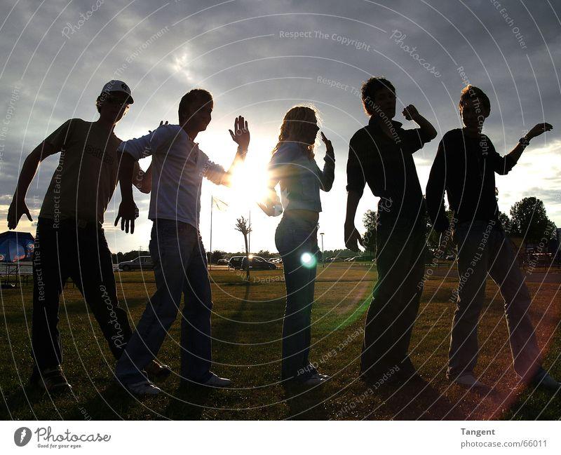 Urlaubsstimmung Mensch Jugendliche Wasser Baum Sonne Freude Sommer Ferien & Urlaub & Reisen Wolken Wiese Menschengruppe See Freundschaft lustig Feste & Feiern