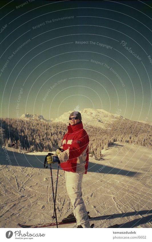 skifahrn Skifahren Sonne Winterurlaub Sport Schnee Himmel Berge u. Gebirge