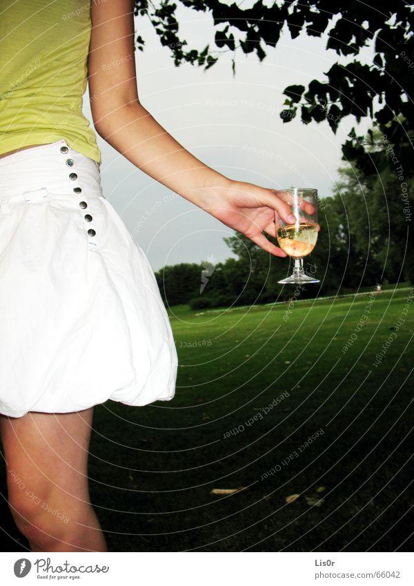 half the woman Baum Sommer Freude Wiese Beine Feste & Feiern trinken Frieden Gewitter Picknick Hälfte Knöpfe Champagner