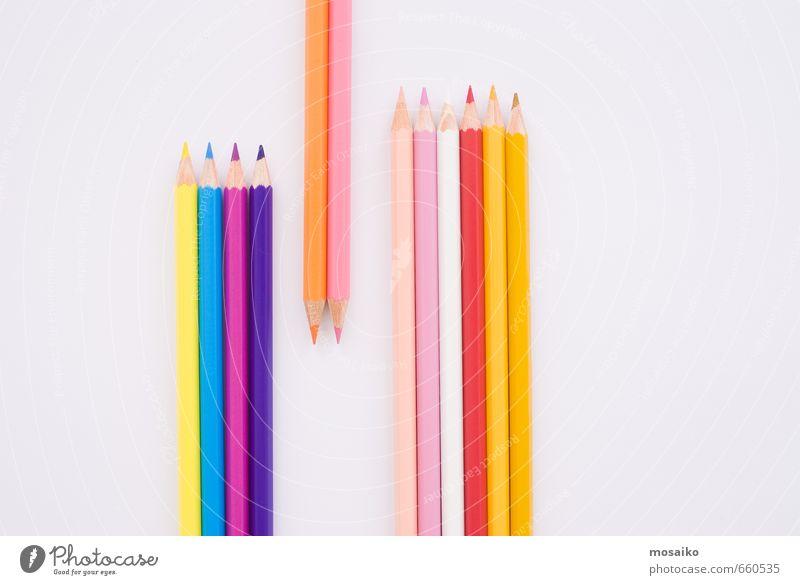 Kind blau rot gelb sprechen Spielen rosa Schule Büro Design einfach Studium lernen Bildung Gemälde Team