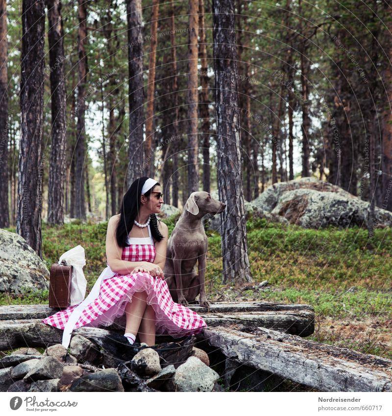 Frau im Dirndl und Weimaraner Jagdhund Lifestyle elegant Stil Freude Glück Erholung Ferien & Urlaub & Reisen Mensch feminin Erwachsene 1 Wald Mode Bekleidung