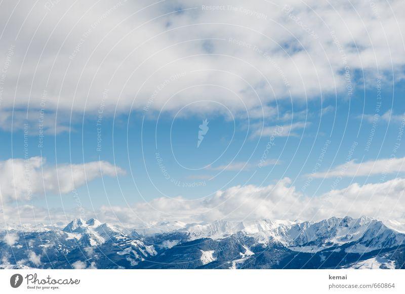 Droben Umwelt Natur Landschaft Urelemente Luft Himmel Wolken Sonnenlicht Winter Schönes Wetter Schnee Felsen Alpen Berge u. Gebirge Schneebedeckte Gipfel