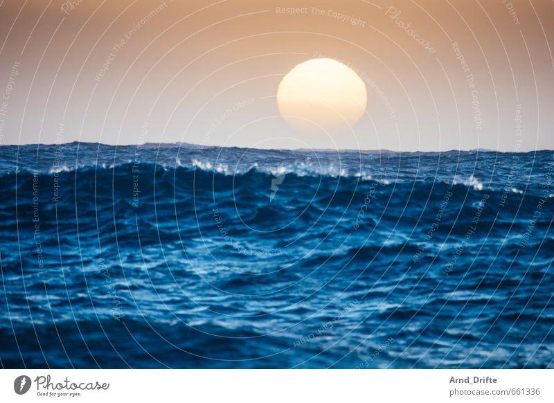 Sonne + Wellenkamm Himmel Natur Ferien & Urlaub & Reisen blau schön Wasser Sommer Meer Landschaft Ferne Freiheit Horizont orange Romantik