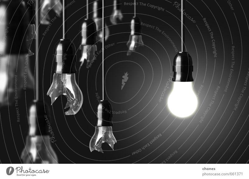 Ideenkonzept mit defekten Glühbirnen und einer Glühbirne Design Lampe Technik & Technologie hell grün schwarz weiß Energie Kreativität Knolle Licht Fotografie