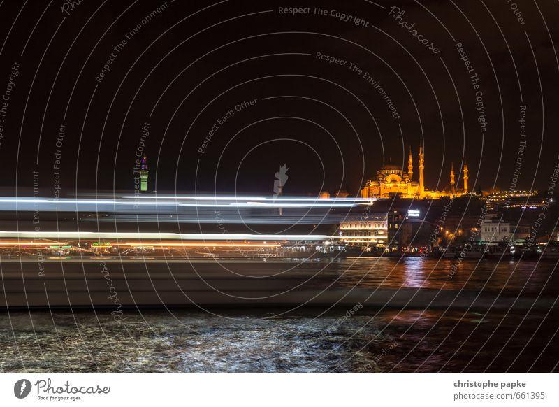 Lights of Istanbul Ferien & Urlaub & Reisen Stadt Meer dunkel Küste Gebäude Religion & Glaube Tourismus Geschwindigkeit Kirche Seeufer historisch Bauwerk