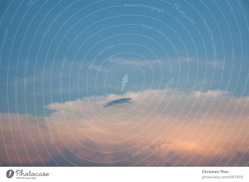 Abenddämmerung Himmel Ferien & Urlaub & Reisen blau schön Sommer Erholung ruhig Wolken Ferne gelb Gefühle Freiheit Luft rosa Zufriedenheit Tourismus