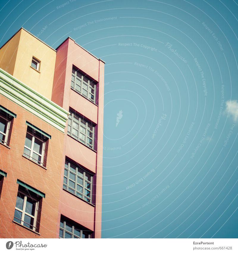 mehrfarbig Kunst Architektur Himmel Wolken Sommer Schönes Wetter Stadt Haus Bauwerk Gebäude Mauer Wand Fassade Fenster Linie leuchten ästhetisch außergewöhnlich