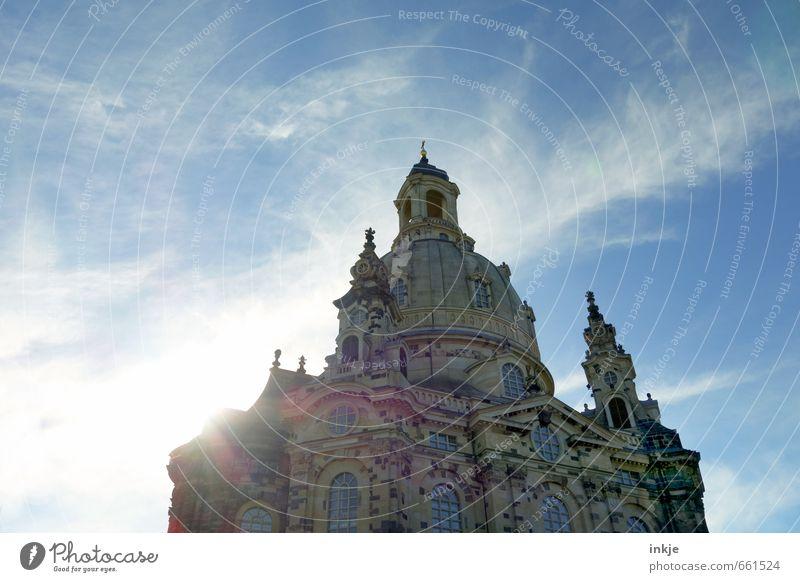 Frauenkirche Drähschdn Himmel blau Stadt Sommer Wolken Architektur Gebäude groß Tourismus hoch Schönes Wetter Kirche Dach historisch Bauwerk Denkmal