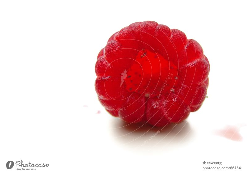 Rubus idaeus Himbeeren Pflanzenteile Waldfrucht saftig fruchtig rot Höhle lecker süß gepflückt Fruchtfleisch Marmelade Ernährung Dessert Saft Einblick Waldrand