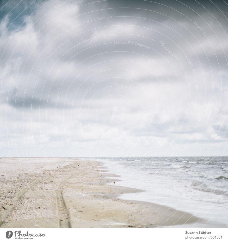 rømø | . Sand Himmel Wolken Schönes Wetter Dürre Wellen Küste Strand Nordsee Meer Insel wandern Optimismus Erfolg Kraft Hoffnung Spuren Sandstrand Rømø