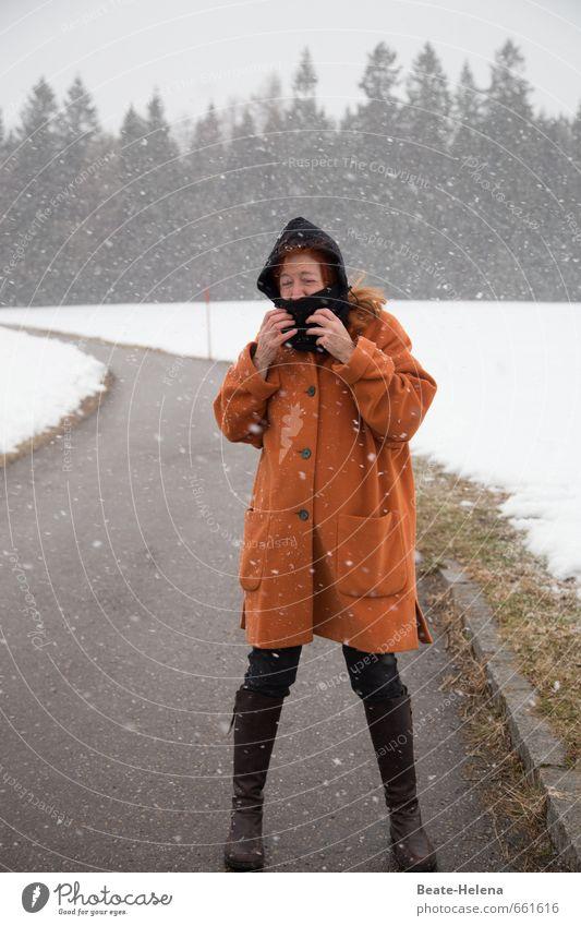 Winterlich frisch Ferien & Urlaub & Reisen Ausflug Schnee Winterurlaub wandern Frau Erwachsene 1 Mensch Umwelt Landschaft Wolken Eis Frost Schneefall Baum Wiese