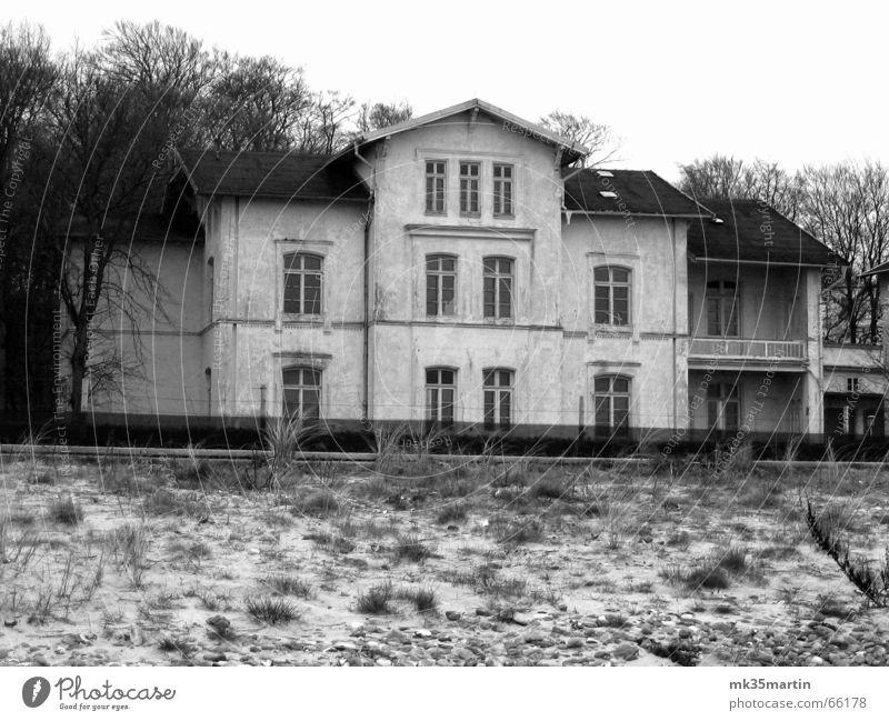 Strandausblick alt Haus grau verfallen Verfall Vergangenheit Stranddüne vergangen Villa ehemalig Unbewohnt Strandhaus Unbewohnbar