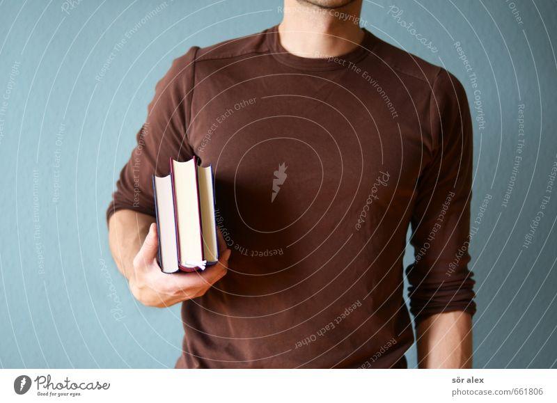 Buchführung Mensch Mann blau Erwachsene braun Schule Arbeit & Erwerbstätigkeit maskulin Erfolg Studium lernen lesen T-Shirt Bildung Wissenschaften