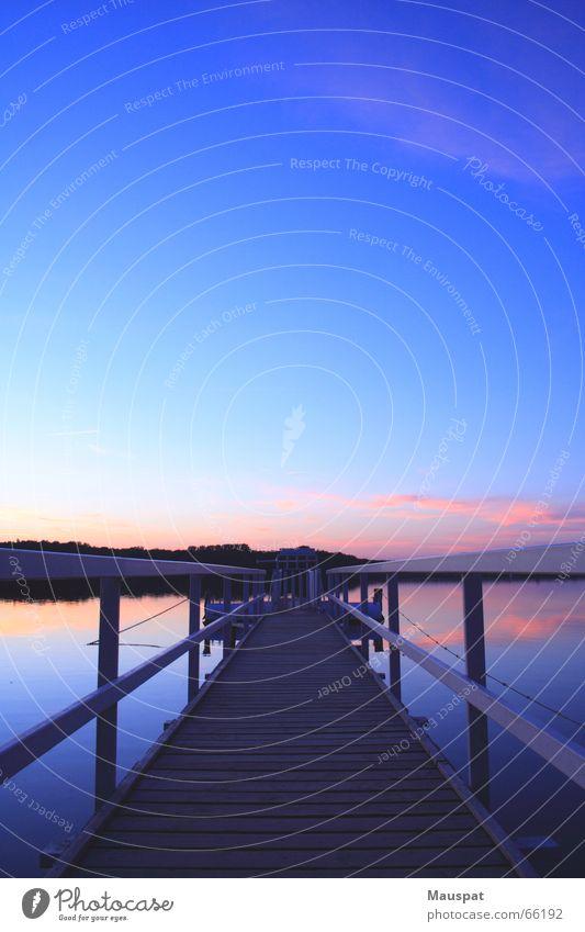 Sonnenuntergang in Haltern Wasser Himmel Sonne See Steg Geländer Stausee