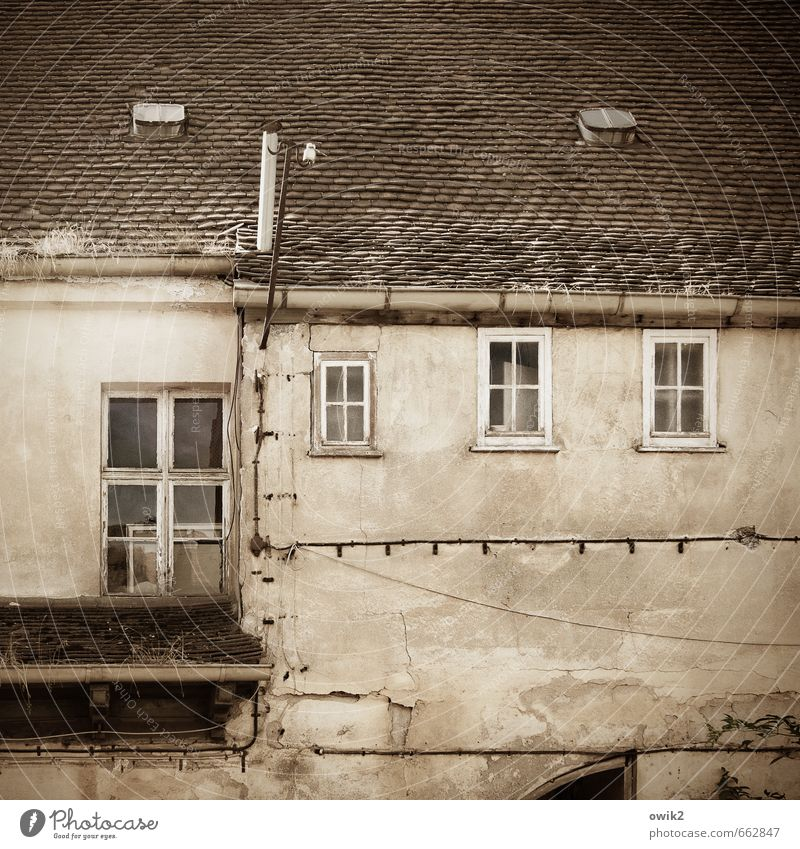 VIP-Lounge alt Haus Fenster Wand Mauer oben Fassade hoch Dach Vergänglichkeit Kabel historisch verfallen Vergangenheit Verfall Schornstein