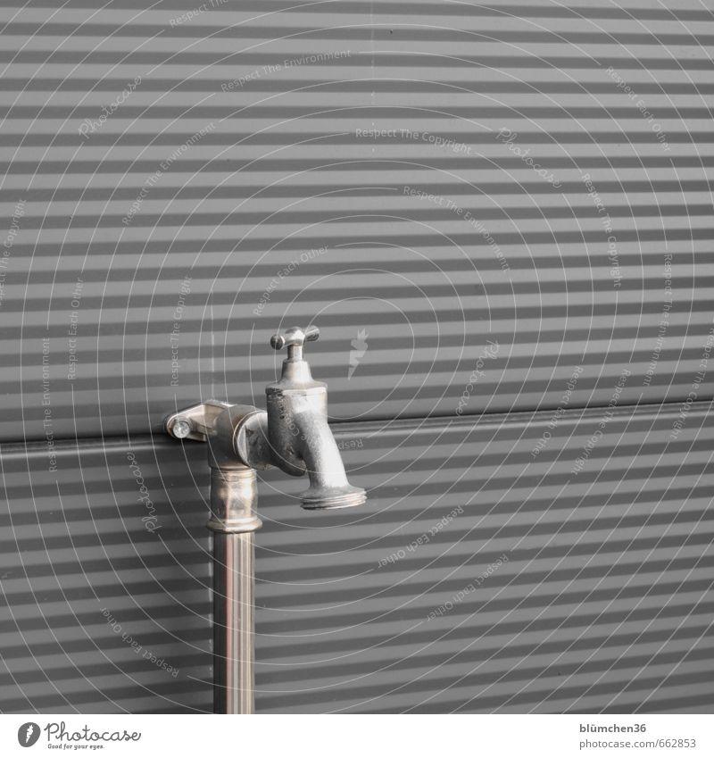 echt(e) | Wasserversorgung Wasserhahn Wand Gebäudeteil Metall Stahl kalt neu Wasserwirtschaft Drehgewinde Sauberkeit Trinkwasser Anschluss glänzend Eisenrohr