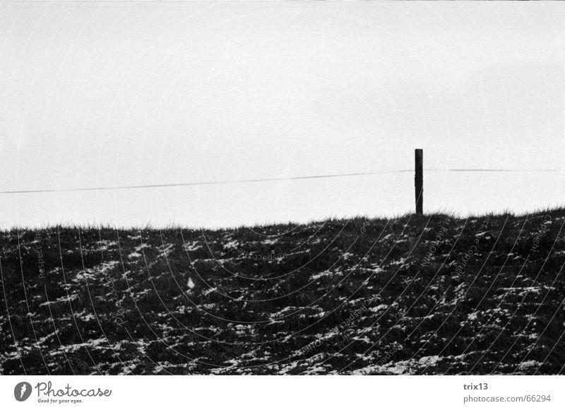 zaun Zaun Wiese Pfosten schwarz weiß Hügel eingezäumt Himmel