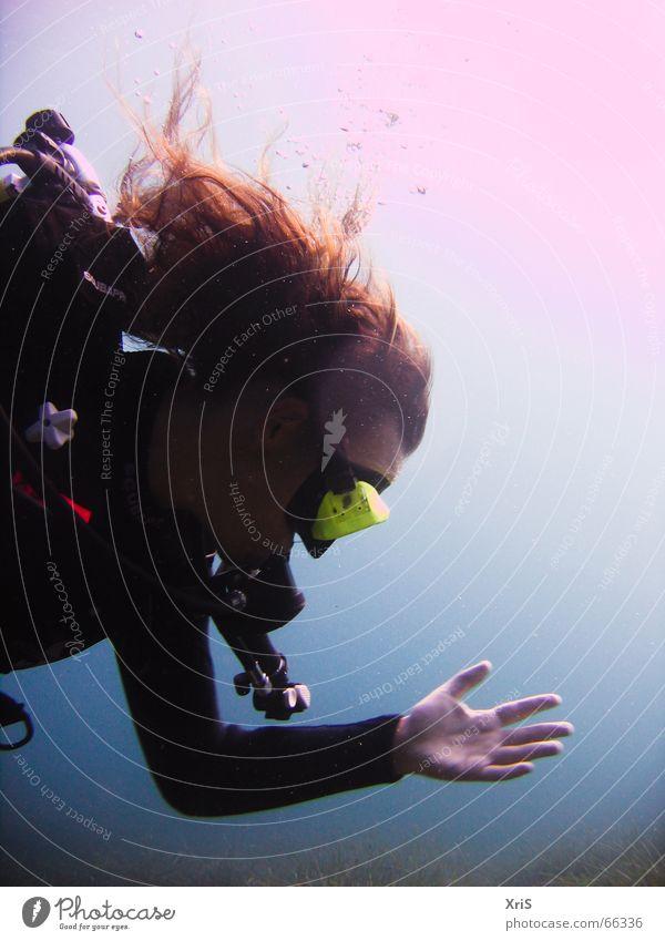 Mallorca - Party Unterwasser 2 Hand Sonne blau Haare & Frisuren Maske tauchen Unterwasseraufnahme Luftblase Schwimmhilfe Taucher Algen Tauchgerät