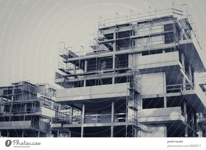 Neu|bau|ten Haus Wachstum modern Beton Zukunft Wandel & Veränderung Baustelle planen neu Bauwerk Balkon Konstruktion Etage eckig Geometrie