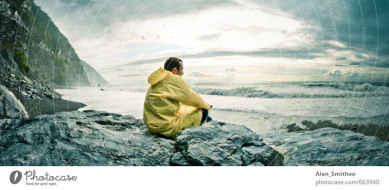 Der Mann und das Meer Ferien & Urlaub & Reisen Abenteuer Ferne Freiheit Strand Insel Wellen Mensch maskulin Junger Mann Jugendliche Erwachsene 1 18-30 Jahre