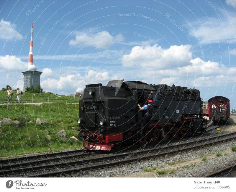 Höchster Bahnhof Norddeutschlands - Brocken im Harz 1140m Eisenbahn Bahnhof Passagier Lokomotive Harz Bruchstück Sender Dampflokomotive Schaffner Schmalspurbahn