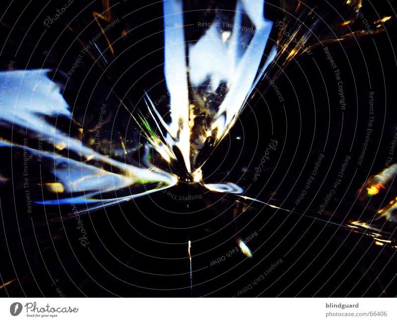Glas And Light Weihnachten & Advent blau gelb Lampe dunkel kalt Linie Glas Stern (Symbol) Starruhm Kristallstrukturen Weihnachtsstern schimmern