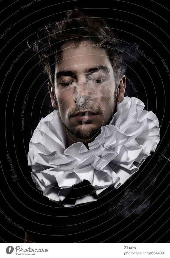 delirium Jugendliche ruhig Junger Mann dunkel Erwachsene Stil Denken Mode träumen maskulin elegant Lifestyle einzigartig Rauchen Bart Sehnsucht