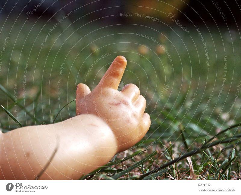 nach Hause telefonieren Kind Hand Wiese Gras Baby Arme Kunststoff Hinweisschild Puppe Kleinkind Halm Daumen zeigen Zeigefinger Unterarm