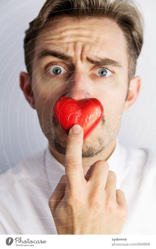 Liebe auf Knopfdruck? Mensch Jugendliche Einsamkeit Hand 18-30 Jahre Junger Mann Gesicht Erwachsene Leben Gefühle Liebe träumen Angst Herz Kommunizieren einzigartig