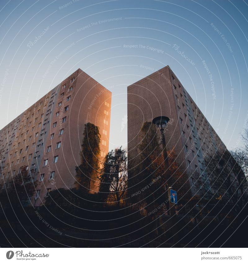 aus dem Schattenreich Stadt Winter dunkel Umwelt Fenster Gebäude oben träumen Fassade Angst trist leuchten Sträucher Warmherzigkeit Straßenbeleuchtung