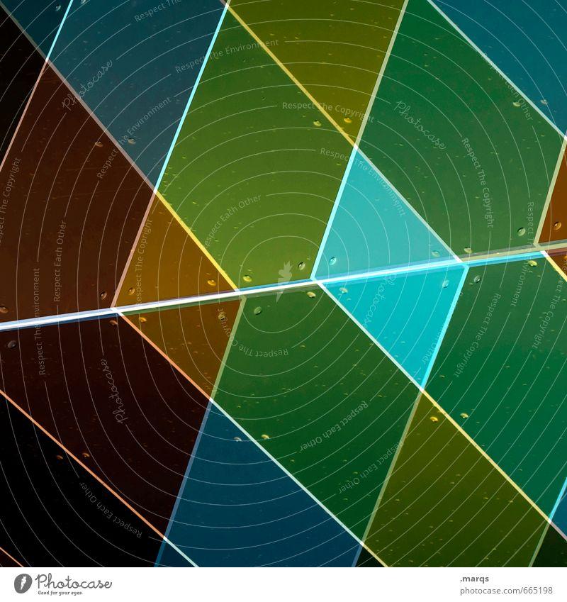 Raute Stil Design Mauer Wand Kunststoff Linie raute Rechteck dunkel eckig blau braun gelb grün orange weiß Farbe Hintergrundbild Doppelbelichtung Farbfoto