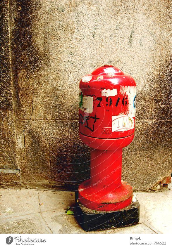 Rote Rakete alt rot Etikett Venedig Stempel Anschluss Hydrant