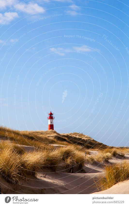 Leuchtturm Natur Landschaft Sand Luft Himmel Schönes Wetter Strandhafer Küste Menschenleer Schilder & Markierungen Ferien & Urlaub & Reisen Erholung Tourismus