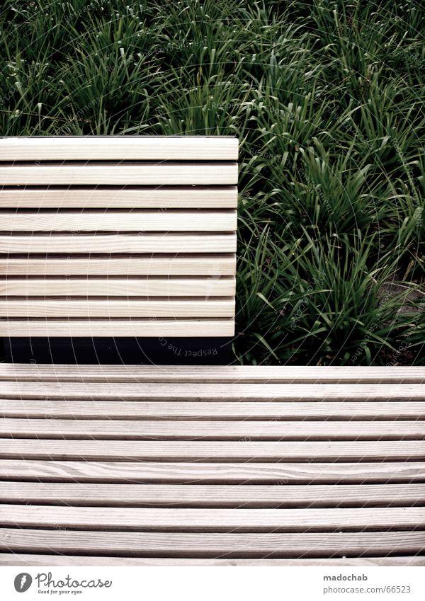SITTING WAITING WISHING | pause bank wellness entspannung Gras Holzbank Park Design Pause Erholung Stil mono offen Natur Bank grünzeugs Aktien sitzen clean neu