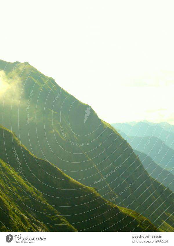 Grün Natur grün Ferne Wald Wiese Berge u. Gebirge Freiheit Landschaft Horizont Niveau weich Alpen Abstufung