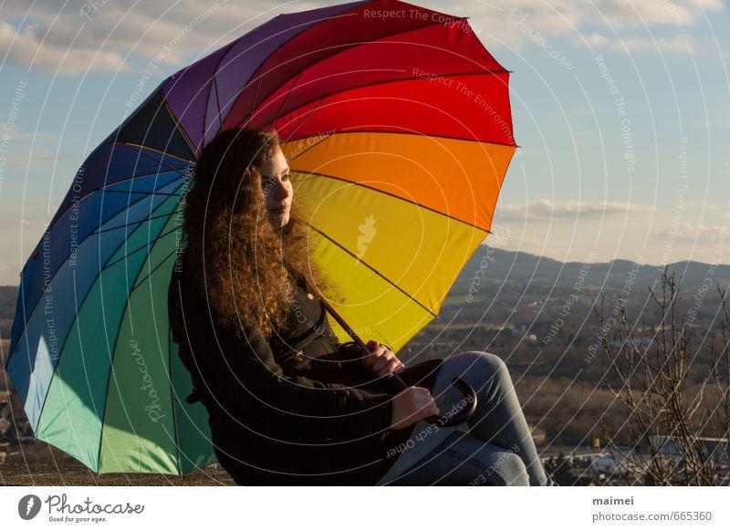 Winter Sonnen Sammlerin Mensch Frau Jugendliche schön Einsamkeit Erholung Junge Frau Landschaft 18-30 Jahre Erwachsene Berge u. Gebirge Wand Gefühle feminin