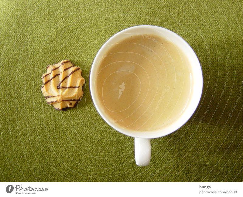 mora Farbfoto Schokolade trinken Kaffee Espresso Tasse Erholung ruhig Stoff genießen braun grün Frieden Konzentration Cappuccino Kaffeetasse Plätzchen Keks