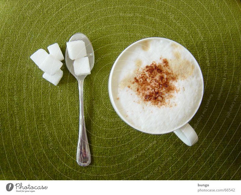 quies Farbfoto Schokolade Kakao Kaffee Tasse Löffel Erholung ruhig Stoff genießen süß braun grün Frieden Cappuccino Kaffeetasse Milchkaffee Zucker Mittagspause