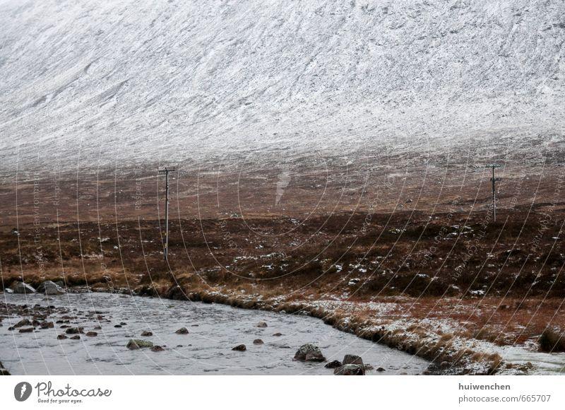 Herkunft und Zivilisation Natur Landschaft Winter Schnee Feld Felsen Berge u. Gebirge Schneebedeckte Gipfel Bach braun grau weiß friedlich Gelassenheit offen