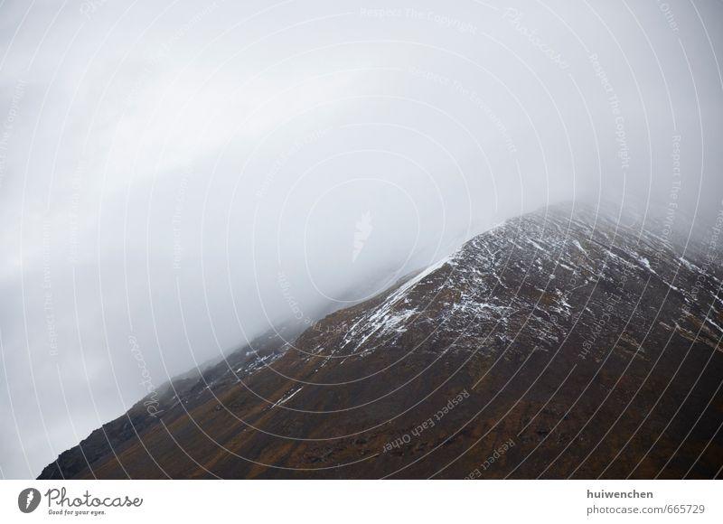 der natürliche Schokoladenkuchen - Berg und Schnee Natur Landschaft Winter Nebel Schneefall Felsen Berge u. Gebirge Schneebedeckte Gipfel kalt braun weiß